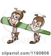 Cartoon Of Happy And Grumpy Ants Carrying A Blade Of Grass Royalty Free Vector Clipart