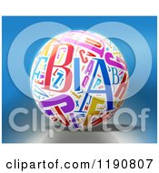 3d White Sphere With Colorful Letters Over Blue