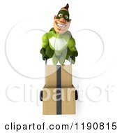 Clipart Of A 3d Super Hero Man Pushing Boxes On A Dolly Royalty Free CGI Illustration