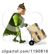 Clipart Of A 3d Super Hero Man Pushing Boxes On A Dolly 2 Royalty Free CGI Illustration