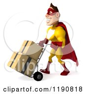 Clipart Of A 3d Super Hero Man In A Yellow And Red Costume Pushing Boxes On A Dolly Royalty Free CGI Illustration