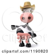 Clipart Of A 3d Cow Mascot Pointing And Wearing A Cowboy Hat Royalty Free CGI Illustration