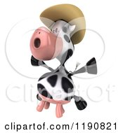 Clipart Of A 3d Cow Mascot Jumping And Wearing A Cowboy Hat 2 Royalty Free CGI Illustration