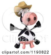 Clipart Of A 3d Cow Mascot Jumping And Wearing A Cowboy Hat Royalty Free CGI Illustration