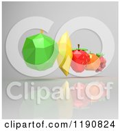 Clipart Of 3d Geometric Fruit Hovering Over Gray Royalty Free CGI Illustration by Julos