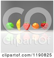 Clipart Of 3d Geometric Fruit Hovering Over Gray 2 Royalty Free CGI Illustration by Julos