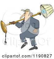 Cartoon Of A Mover Man Carrying A Lamp Over His Shoulder Royalty Free Vector Clipart