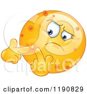Cartoon Of An Acne Ridden Emoticon Popping Pimples Royalty Free Vector Clipart