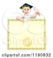 Cartoon Of A Happy Blond Graduate Man Holding A Scroll And Pointing Down At A Certificate Royalty Free Vector Clipart