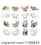 Cartoon Of A Tortoise Wolf Horse Otter Mouse Donkey Panda And Kitten In Color And Black And White Royalty Free Vector Clipart by AtStockIllustration