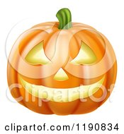 Cartoon Of A Grinning Carved Halloween Pumpkin Royalty Free Vector Clipart