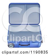 Empty And Open Blue Suitcase