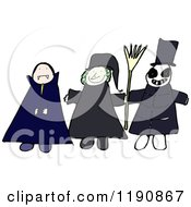 Cartoon Of 3 Children Trick Or Treating Royalty Free Vector Illustration by lineartestpilot