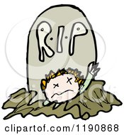 Cartoon Of A Body Coming Out Of A Grave Royalty Free Vector Illustration