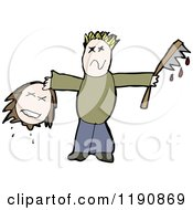 Cartoon Of A Man Decapitating A Head Royalty Free Vector Illustration