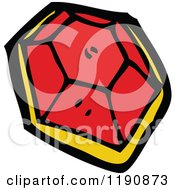 Cartoon Of A Big Red Jewel Royalty Free Vector Illustration by lineartestpilot