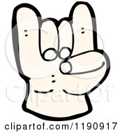 Cartoon Of A Hand Doing The Rock On Sign Royalty Free Vector Illustration by lineartestpilot