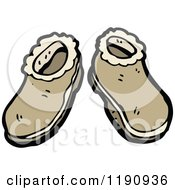 Cartoon Of Leather Slippers Royalty Free Vector Illustration