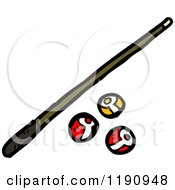 Cartoon Of A Pool Cue And Billiard Balls Royalty Free Vector Illustration