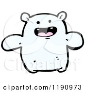 Cartoon Of A White Puffy Creature Royalty Free Vector Illustration
