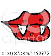 Cartoon Of Vampire Lips And Fangs Royalty Free Vector Illustration
