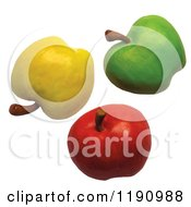 Yellow Green And Red Apples On White