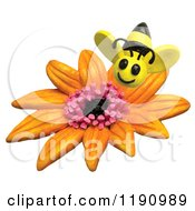 Clipart Of A Happy Bee Over An Orange Flower Over White Royalty Free Illustration