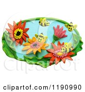Clipart Of Happy Bees Pollinating Flowers In A Garden Over White Royalty Free Illustration