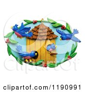 Happy Blue Birds And A Berry Frame Around A House Over White