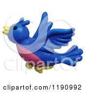 Happy Flying Blue Bird Over White