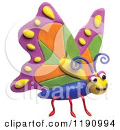 Happy Butterfly With Colorful Wings Over White