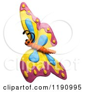 Happy Flying Butterfly With Pink Yellow And Blue Wings Over White