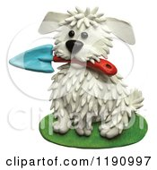 Cute White Dog Sitting With A Gardening Trowel In His Mouth Over White