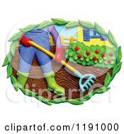 Clipart Of A Man Raking A Garden In A Yard Over White Royalty Free Illustration by Amy Vangsgard
