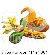 Still Life Of Squash And Corn Over White
