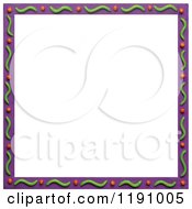 Purple Border With Green Waves And Dots Over White