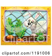 White Rabbit Looking At Carrots Through A Fence With A Paw Print Frame Over White