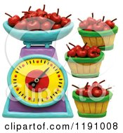 Clipart Of A Scale And Bushels Of Cherries Over White Royalty Free Illustration by Amy Vangsgard