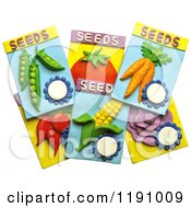 Garden Vegetable Seed Packets Over White