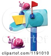 Clipart Of A Happy Snails By A Mailbox Over White Royalty Free Illustration