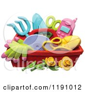 Clipart Of A Gardening Tool Caddy With Roses Over White Royalty Free Illustration