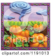 Clipart Of A Tornado Over Pumpkins And Farmland In A Purple Border Royalty Free Illustration by Amy Vangsgard