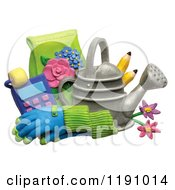 Watering Can With Pencils Gloves And Gardening Tools Over White