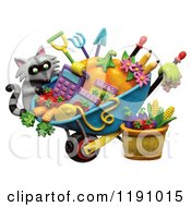 Raccoon And A Wheelbarrow Of Gardening Tools And Produce Over White