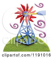 Windmill On A Hill With Purple Breeze Swirls On White