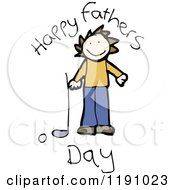 Cartoon Of A Happy Fathers Day Card Royalty Free Vector Illustration