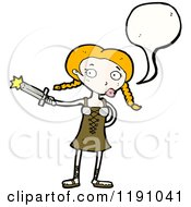 Cartoon Of A Viking Girl Speaking Royalty Free Vector Illustration
