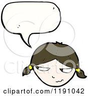 Cartoon Of A Girls Head Speaking Royalty Free Vector Illustration