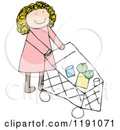 Cartoon Of A Mom Pushing A Shopping Cart Royalty Free Vector Illustration by lineartestpilot