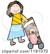 Cartoon Of A Mom Pushing A Baby In A Stroller Royalty Free Vector Illustration by lineartestpilot